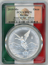 2019-Mo Mexican Silver Libertad Onza MS70 PCGS First Strike flag frame