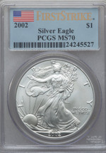 2002 Silver Eagle PCGS MS70 First Strike *PCGS Price Guide $7500*
