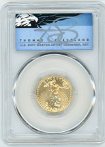 2020 $10 Gold Eagle MS70 PCGS FDOI  T. Cleveland blue eagle