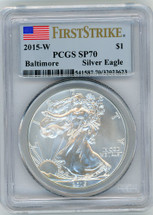 2015-W Burnished Silver Eagle SP70 PCGS Baltimore flag First Strike