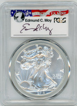 2016-W Burnished Silver Eagle SP70 PCGS 30th Anniv. First Strike Ed Moy Signed 1 of 1144