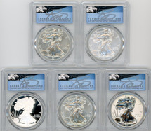 2011 ASE 5-Coin Set MS/PR70/SP70 PCGS 25th Anniv First Strike T. Cleveland blue eagle