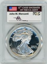 1993-P $1 Proof Silver Eagle PR70 PCGS Philadelphia Set J Mercanti Flag