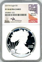 2019 W $1 Proof Silver Eagle PF70 NGC J Mercanti