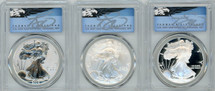 2006-W/P ASE 3-coin SP/PR/Rev PR70 PCGS First Strike 20th Anniversary T. Cleveland blue eagle