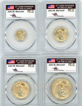 2020 4-Coin Gold Eagle Set ($5, 10, 25, 50) MS70 PCGS FDOI flag Mercanti