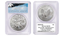 2020-(P) Silver Eagle PCGS MS70 Emergency Issue Struck at Philadelphia FDOI T Cleveland Blue Eagle