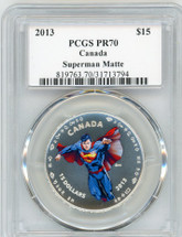 2013 $15 Canada Superman Matte PR70 PCGS S. Blunt