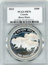 2013 $100 Canada Bison Matte PR70 PCGS S. Blunt