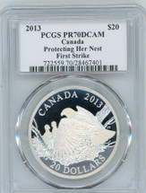 2013 $20 Silver Canada PR70 PCGS First Strike Eagle Protecting Her Nest S. Blunt