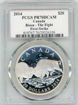 2014 $20 Canada Bison - The Fight PR70 PCGS First Strike S. Blunt
