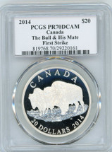 2014 $20 Canada The Bull & His Mate PR70 PCGS First Strike S. Blunt