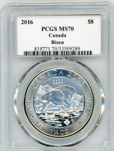 2016 $8 Silver Canada Bison MS70 PCGS S. Blunt