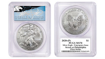 2020-(P) Silver Eagle PCGS MS70 Emergency Issue Struck at Philadelphia First Strike TC Blue Eagle