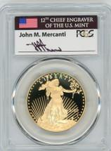2020-W $50 Proof Gold Eagle PR70 PCGS John Mercanti Flag