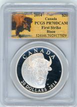 2014 $20 Canada Bison PR70 PCGS First Strike bison label