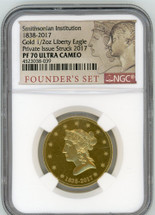 1838-2017 Smithsonian Institution Gold 1/2 oz Liberty Eagle PF70 NGC Ultra Cameo Private Issue Struck 2017
