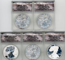 2011 5-coin 25th Anniversary Set SP/PR70 ANACS First Strike