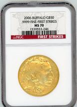 2006 $50 Gold Buffalo MS70 NGC First Strike