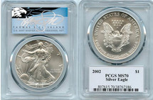 2002 $1 Silver Eagle MS70 PCGS T Cleveland Blue Eagle