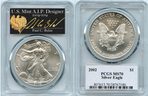 2002 $1 Silver Eagle MS70 PCGS Paul Balan
