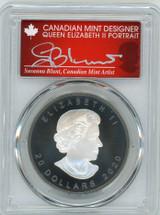 2020 $20 Canada Rhodium-plated 1oz Silver Maple Leaf Matte AG PR70 PCGS FDOI S. Blunt Queen label