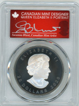 2020 $20 Canada Rhodium-plated 1oz Silver Maple Leaf Matte AG PR70 PCGS FDOI S. Blunt Queen label