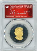 2020 $200 Canada Incuse-Rhodium plated 1oz Gold Maple Leaf Matte AG PR70 PCGS FDOI S. Blunt Queen label