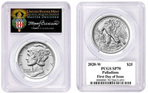 2020-W $25 Burnished Palladium SP70 PCGS FDOI T. Cleveland Torch label