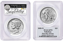 2020-W $25 Burnished Palladium Eagle SP70 PCGS FDOI G Whitley