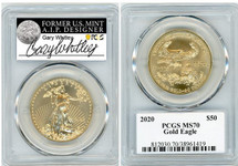 2020 $50 Gold Eagle MS70 PCGS Gary Whitley