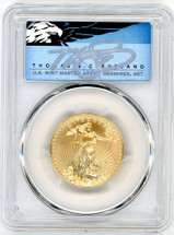 2020 $25 Gold Eagle MS70 PCGS First Strike T. Cleveland blue eagle