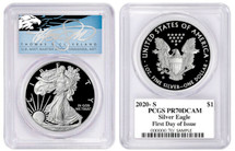 2020-S Proof ASE PR70 PCGS FDOI T. Cleveland Blue Eagle