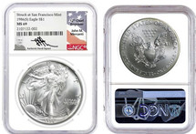 1986(S) $1 Silver Eagle MS69 NGC J Mercanti