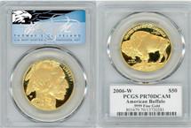 2006-W $50 Proof Gold Buffalo PR70 PCGS T Cleveland Blue Eagle