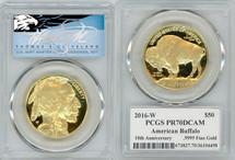 2016-W $50 Proof Gold Buffalo PR70 PCGS T Cleveland Blue Eagle