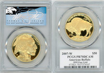 2007-W $50 Proof Gold Buffalo PR70 PCGS T. Cleveland blue eagle