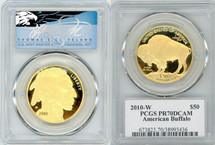 2010-W $50 Proof Gold Buffalo PR70 PCGS T. Cleveland blue eagle