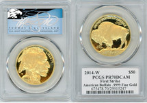 2014-W $50 Proof Gold Buffalo PR70 PCGS T. Cleveland blue eagle