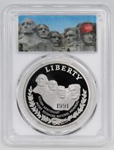 1991-S $1 Proof Silver Mount Rushmore PCGS PR70 Mount Trumpmore Label