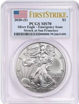 2020-(S) $1 Silver Eagle MS70 Emergency Issue PCGS Struck at San Francisco Flag First Strike