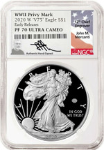 2020-W $1 Proof Silver Eagle V75 Privy NGC PF70 Early Releases John Mercanti