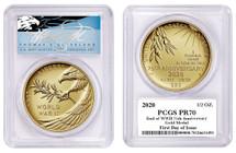 2020-W $25 End of World War II 75th Anniversary 1/2 oz Gold Eagle FDOI PR70 PCGS T Cleveland Blue Eagle
