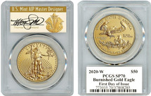 2020-W $50 Burnished Gold Eagle SP70 PCGS FDOI T Cleveland Art Deco