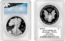 2020-W ASE V75 Privy PR70 PCGS First Strike T. Cleveland blue eagle