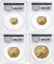 2021 4-coin Gold Eagle Set ($5, 10, 25, 50) MS70 PCGS Type 1 FDOI T. Cleveland wreath