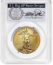 2021 $50 Gold Eagle MS70 PCGS Type 1 FDOI T. Cleveland wreath