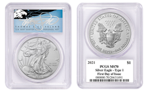 2021 ASE MS70 PCGS Type 1 FDOI T. Cleveland blue eagle