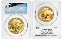 2021 $50 Gold Buffalo MS70 PCGS FDOI T. Cleveland blue eagle