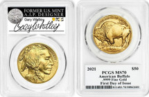 2021 $50 Gold Buffalo MS70 FDOI PCGS Gary Whitley signed